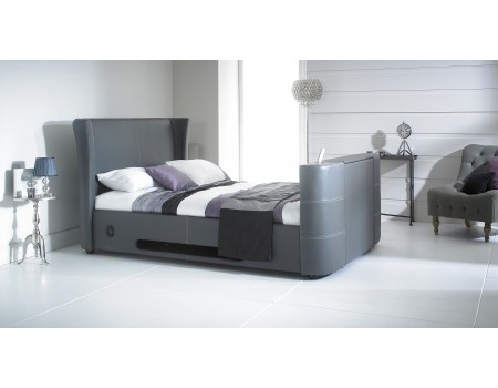 Grey 5\'0 Kingsize Leather Music TV Bed Built In Speakers and ...