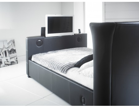Charming 2new Black 4 6 Double Leather Music Tv Bed With Built In Speakers And Bluetooth   (1)