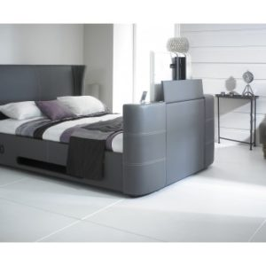 Grey 5'0 Kingsize Leather Music TV Bed Built In Speakers and Bluetooth