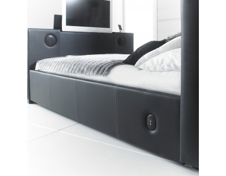 5new Black 5 0 Double Leather Music Tv Bed With Built In Speakers  And Bluetooth