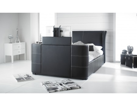 Grey 50 Kingsize Leather Music Tv Bed Built In Speakers And