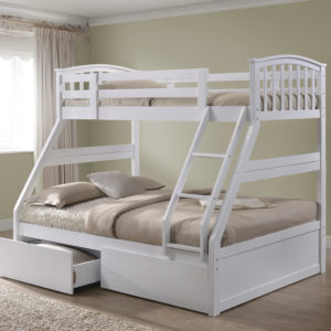 Children's Three Sleeper Bunk Bed - White