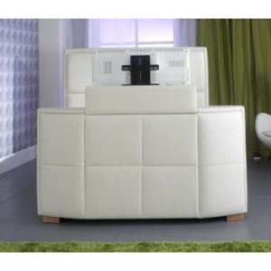 Zynah 4'6ft Double - Ivory Colour TV Bed inc Remote Control
