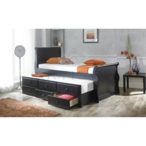 Black Captain Bed + Guest Trundle Bed inc 3 Drawers