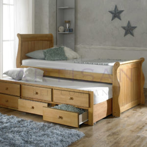 Oak Captain Bed + Guest Trundle Bed inc 3 Drawers