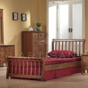 Milan Oak Wooden Sleigh Bed - 4'6 Double