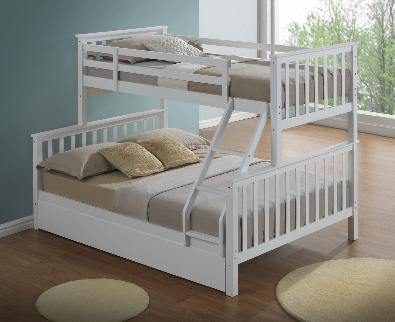 Children S Three Sleeper Bunk Bed White Inc Drawers Majestic