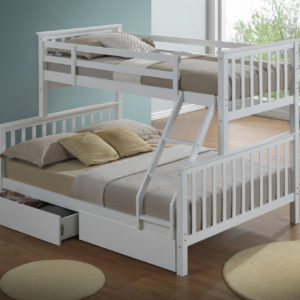 Children's Three Sleeper Bunk Bed - White - Drawers Not Included