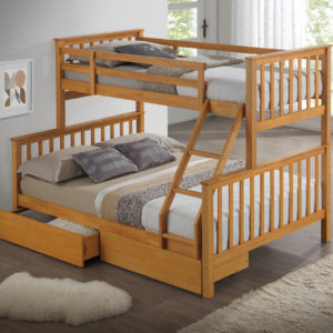 Children's Three Sleeper Bunk Bed - Beech - Inc Drawers