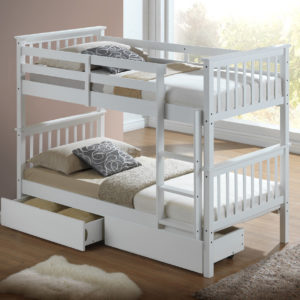 Children's Bunk Bed - White- Inc Drawers