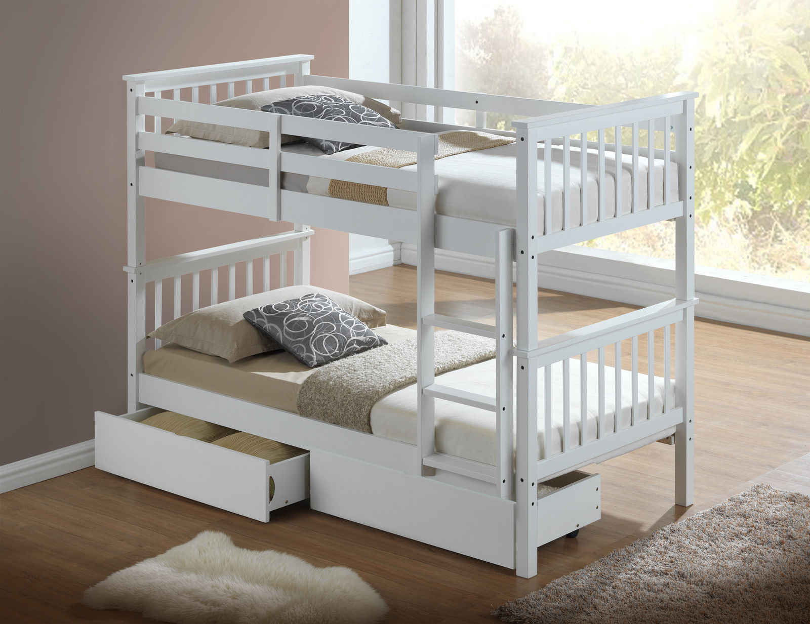 Children S Bunk Bed White Inc Drawers Majestic Furnishings