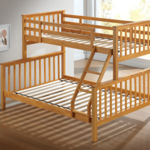Children's Three Sleeper Bunk Bed - Beech