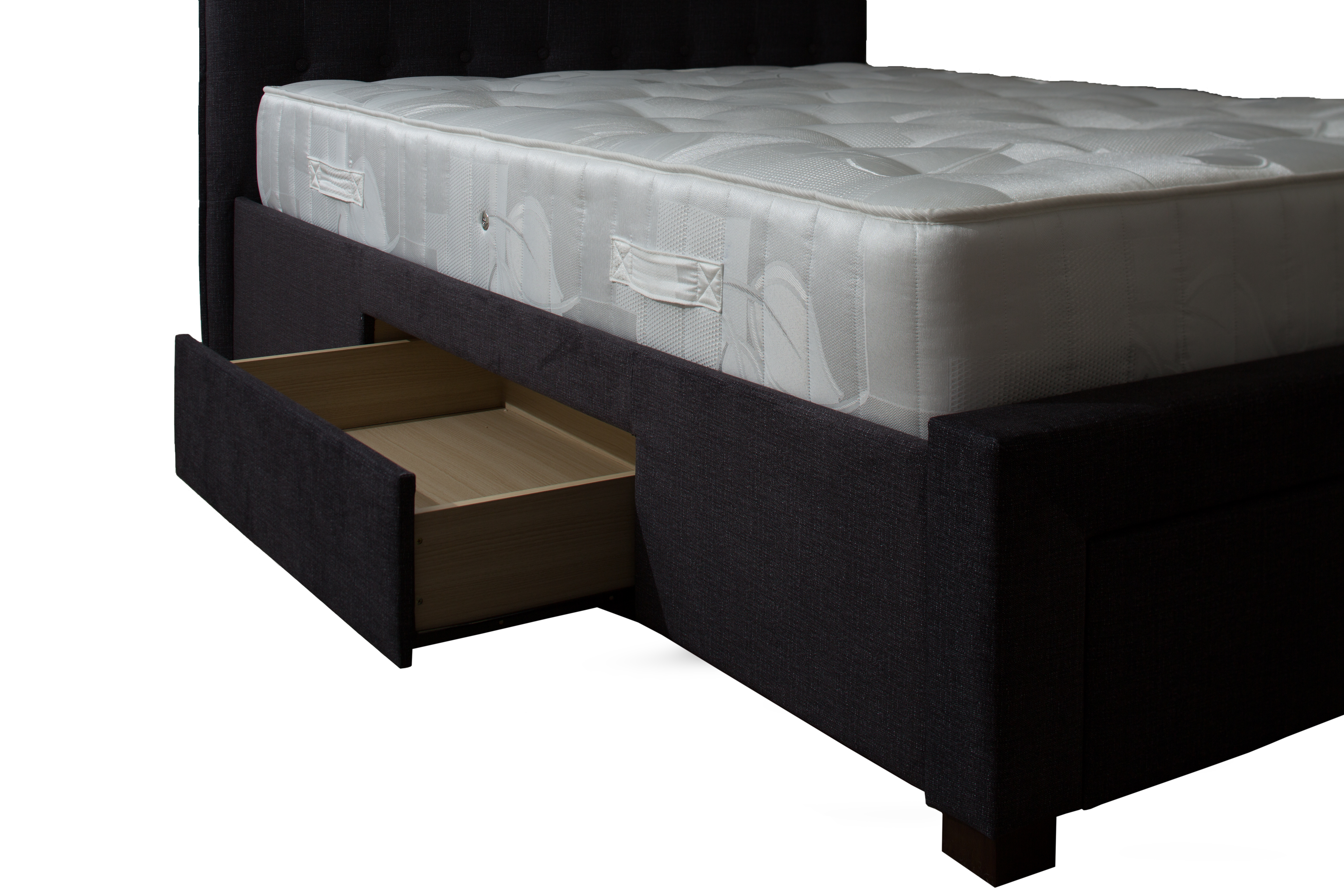 5ft King Size Leather Sleigh Bed With Storage 4x Drawers Brown Hannover Grey Fabric Bed