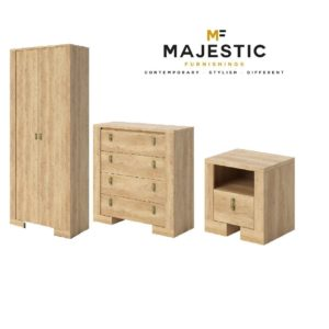Nebraska oak mdf 3 piece bedroom set - bedside, chest, wardrobe