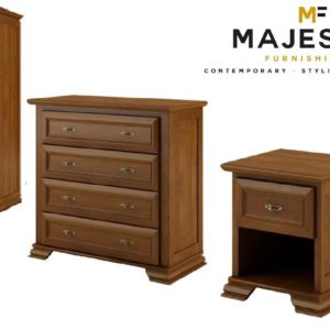 Bolero classic mdf 3 piece bedroom set - bedside, chest, wardrobe