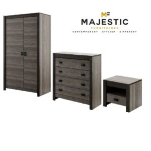 Denver grey wood effect mdf 3 piece bedroom set - bedside, chest, wardrobe