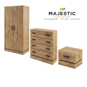Kardamon rustic oak mdf 3 piece bedroom set - bedside, chest, wardrobe