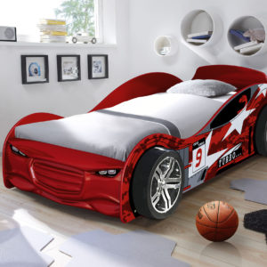 Twin Turbo Red Car Racer Bed