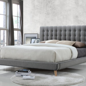 Stockholm Grey Fabric Bed - 4'6 Double