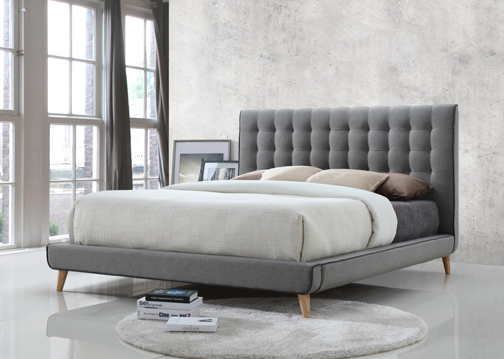 Stockholm Grey Fabric Bed – 4\'6 Double | Majestic Furnishings