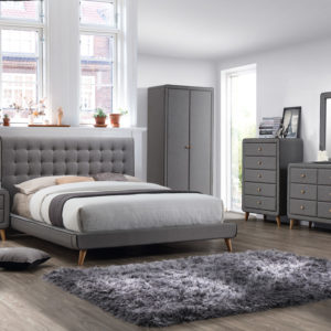 Stockholm Grey Fabric Bedroom Set - 5ft King