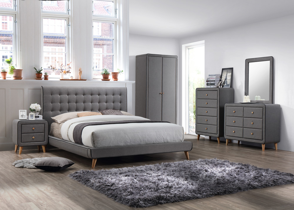 Stockholm Grey Fabric Bedroom Set 5ft King Majestic