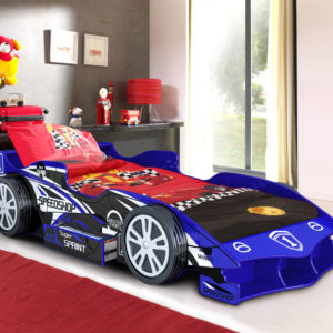 Blue Speedracer Car Bed - Drawer Storage