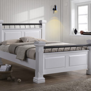 White Wooden Rolo Bed - 4ft6