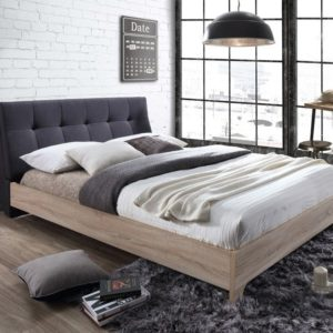 Grey Fabric & Beech MDF Nordic Scandinavian design modern bed - 5ft Kingsize