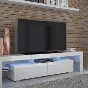 White TV Unit - High Gloss - 190 cm