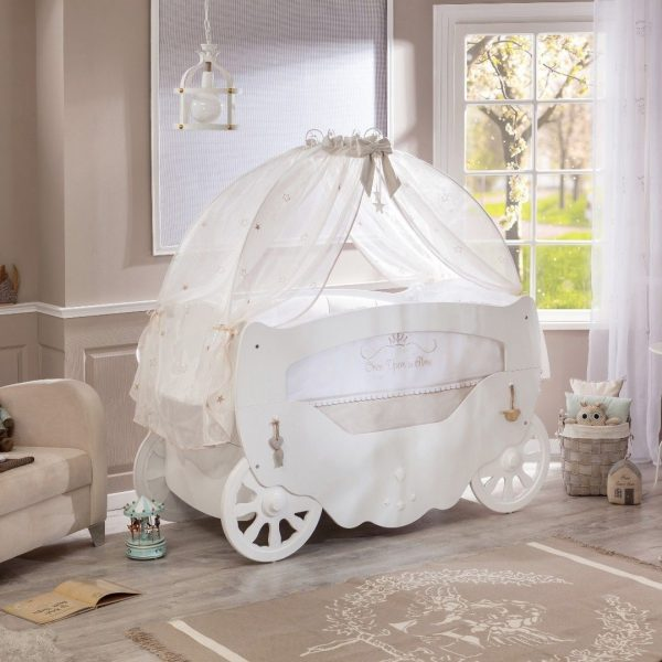 lightbox & White Fairy Baby Cot Bed With Canopy | Majestic Furnishings