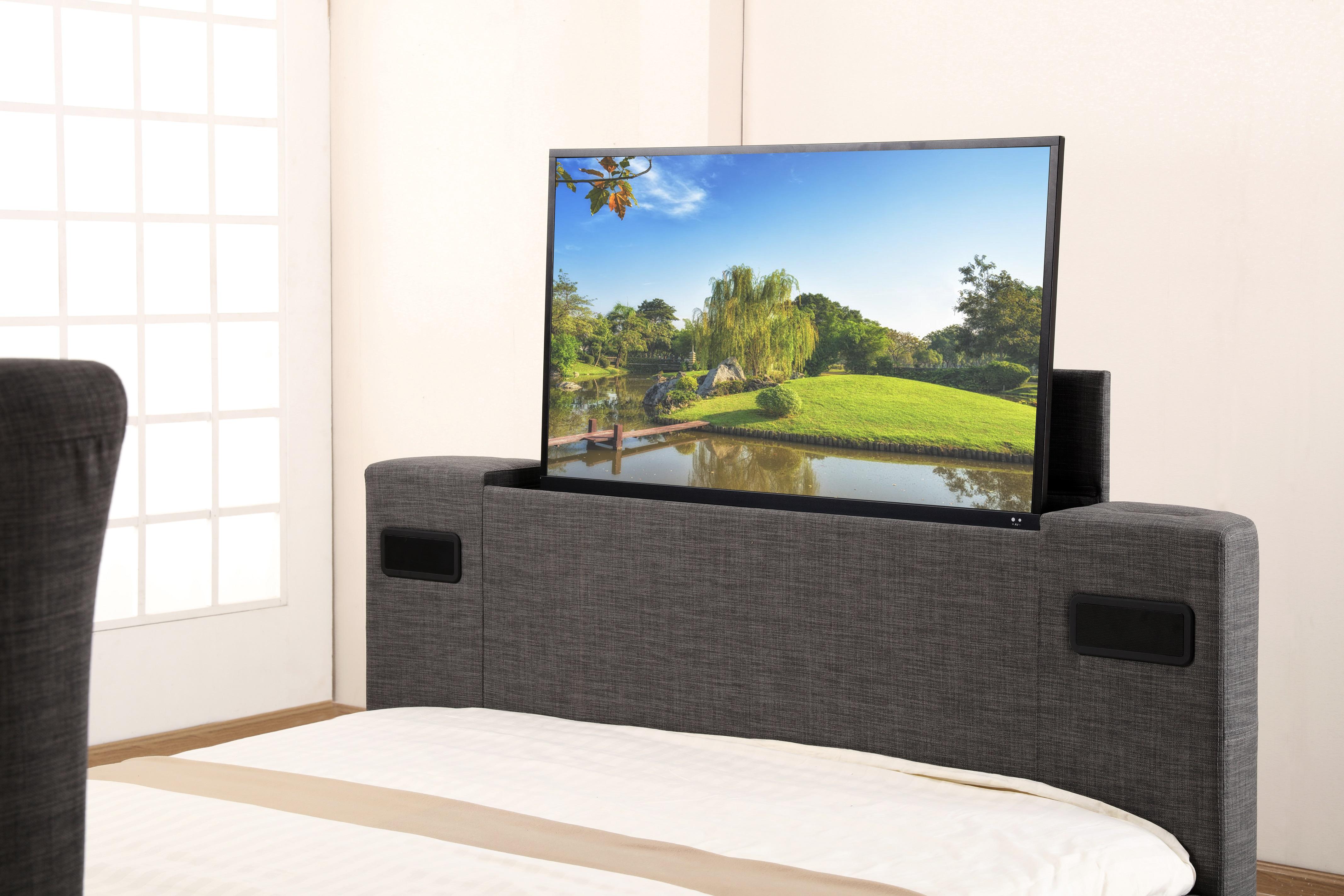46 Double Grey Fabric Music Tv Bed Designer Headboard Bluetooth
