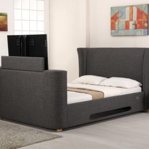 5'0 Kingsize Grey Fabric Music TV Bed - Designer Headboard - Bluetooth - Speaker