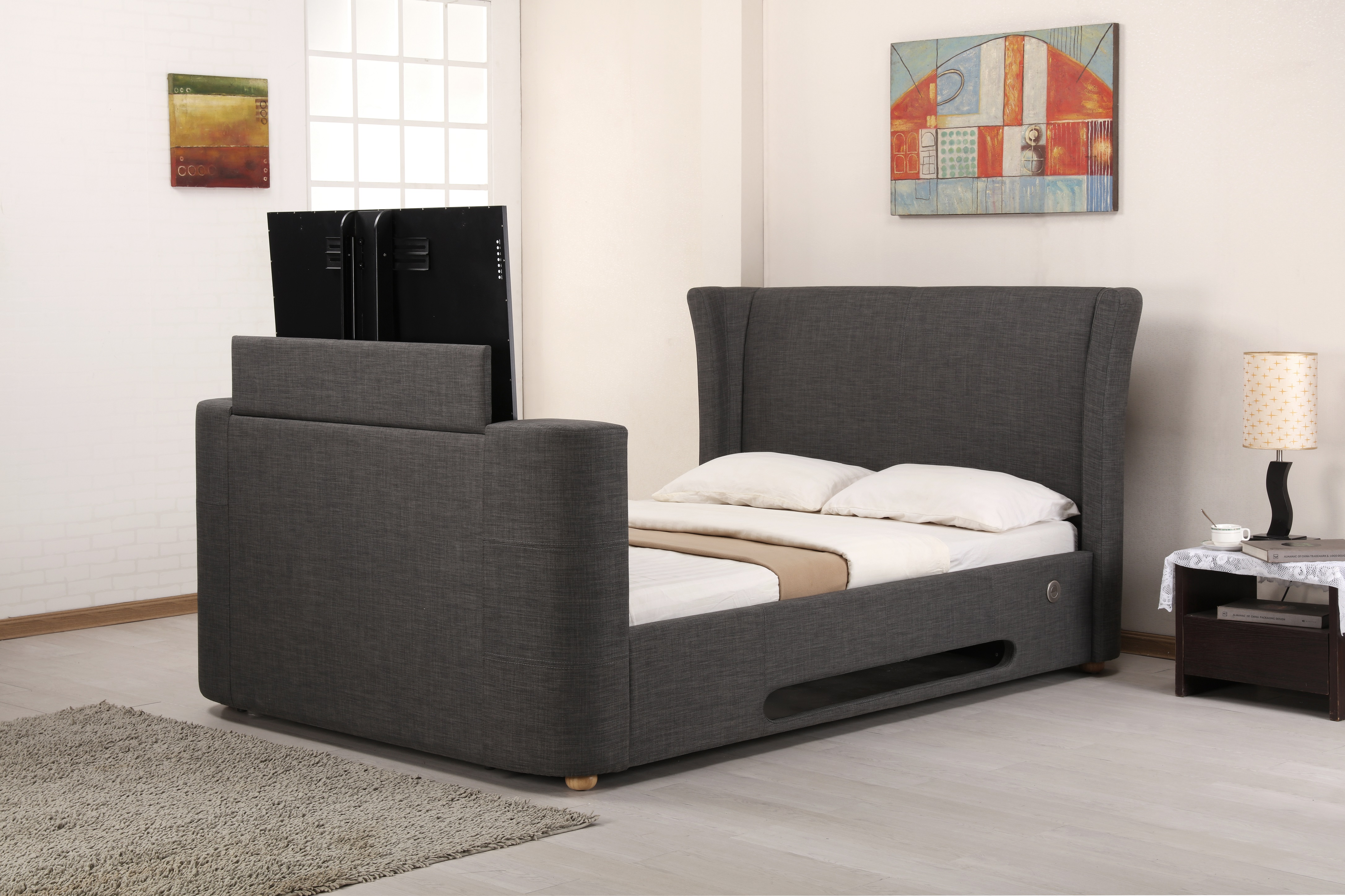 large and king frame bed upholstered fabric bedroom grey platform with full wood size headboard of
