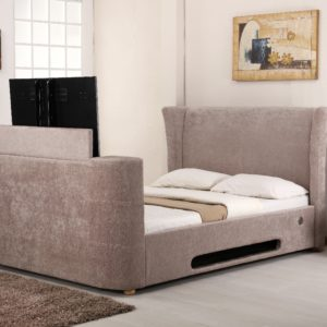 4'6 Double Mink Fabric Music TV Bed - Designer Headboard - Bluetooth - Speaker