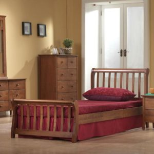Milan Oak Wooden Sleigh Bed -4ft Small Double