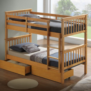 Beech Bunk Bed - With Underbed Drawers + 2 Mattresses