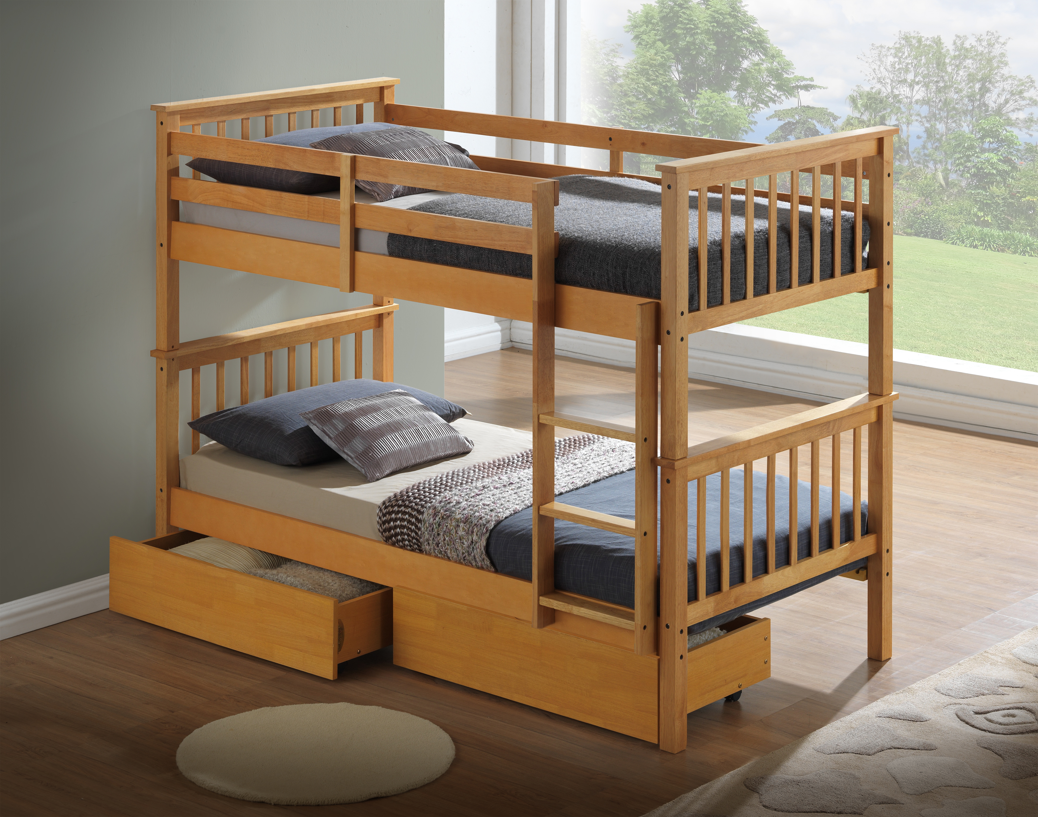 Picture of: Beech Bunk Bed With Underbed Drawers 2 Mattresses Majestic Furnishings