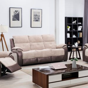 Fabric / Half Leather Beige Colour Sofa Range