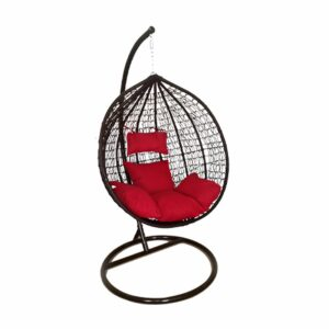 Egg Hanging Chair - Black with Red Cushion - Model RC0001