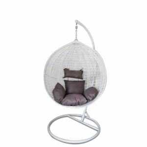 Egg Hanging Chair - White with Grey Cushion - Model RC0001