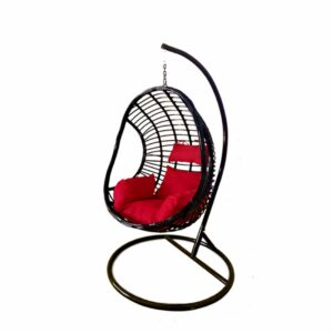 Egg Hanging Chair - Black with Red Cushion - Model RC0002