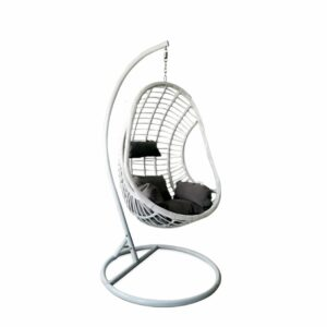 Egg Hanging Chair - White with Grey Cushion - Model RC0002