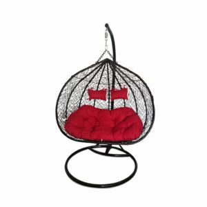 Large Egg Hanging Chair - Black with Red Cushion - Model RC0005