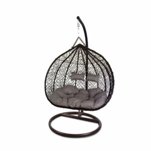 Large Egg Hanging Chair - Brown with Grey Cushion - Model RC0005