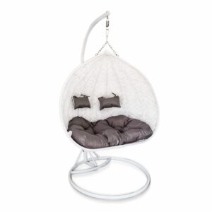 Large Egg Hanging Chair - White with Grey Cushion - Model RC0005